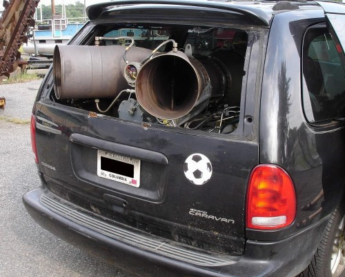 Dodge Caravan with a Helicopter Turboshaft