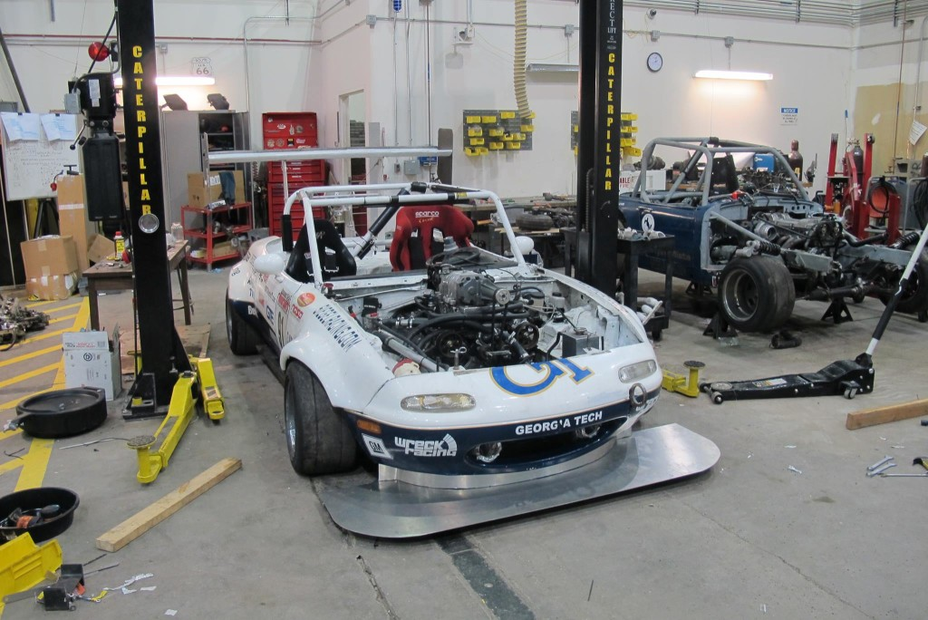 Wreck Racing Mazda Miata with a supercharged Toyota 1UZ-FE V8