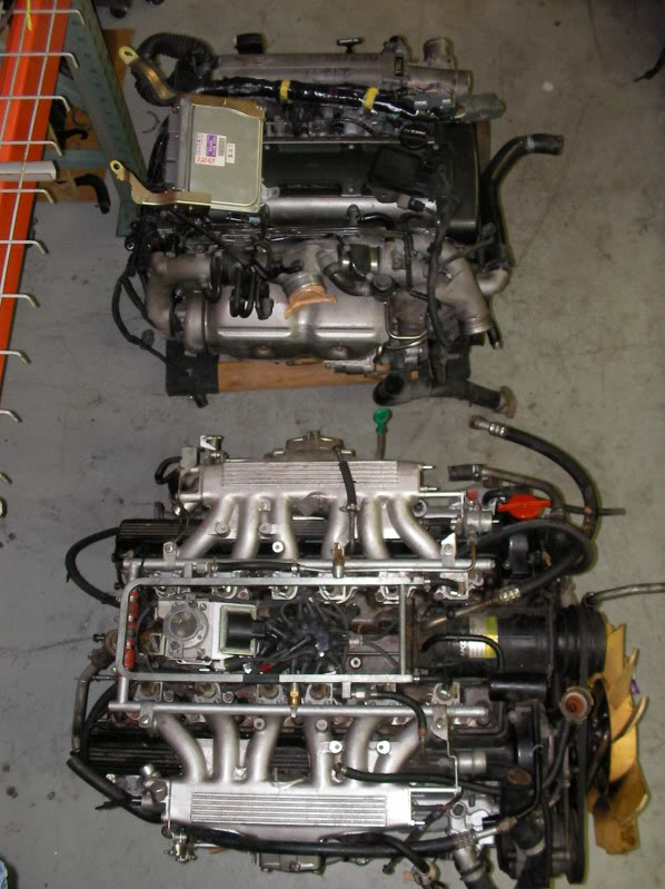 2JZ motor besides original 1990 Jaguar XJS engine