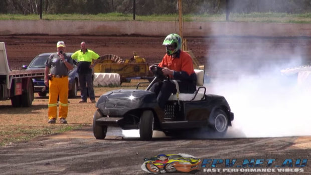 Golf cart with a Hayabusa motorcycle engine doing a burnout