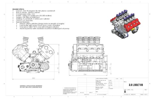 Hartley 3.0 L BOLT V8 diagram