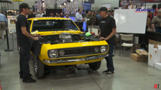 Live Engine Swap at PRI on Crusher Camaro with a LS7