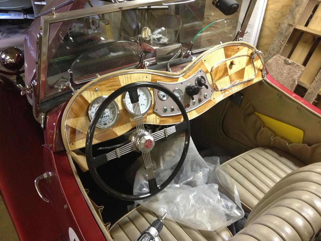 interior of a 1952 MG TD Replica With A Subaru EJ22 flat-four