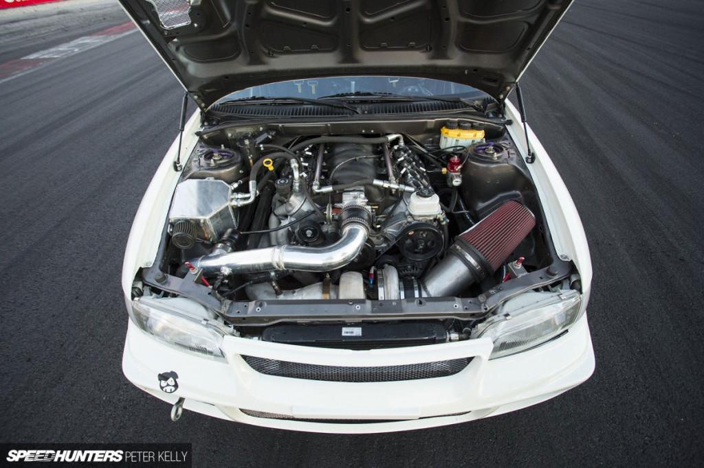 turbocharged LQ4 V8 inside 1993 Lancer Evo engine bay