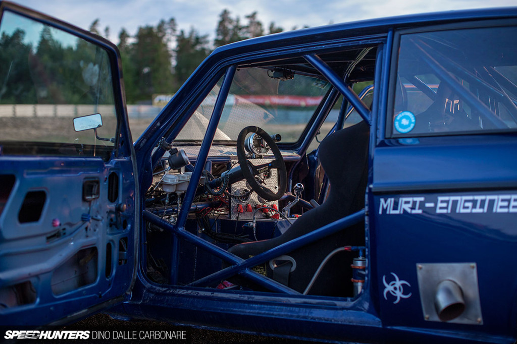 roll cage and interior of Joachim Muri's 1978 Volvo 242DL with a twin-turbo Gen3 Viper V10
