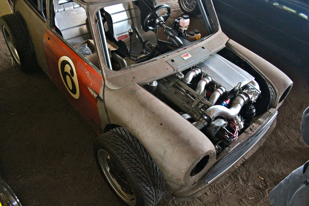 Porsche 944 engine inside Mini Cooper engine bay