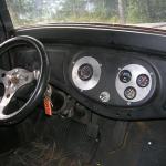 interior of custom 1935 mid-engine truck with 350 ci V8