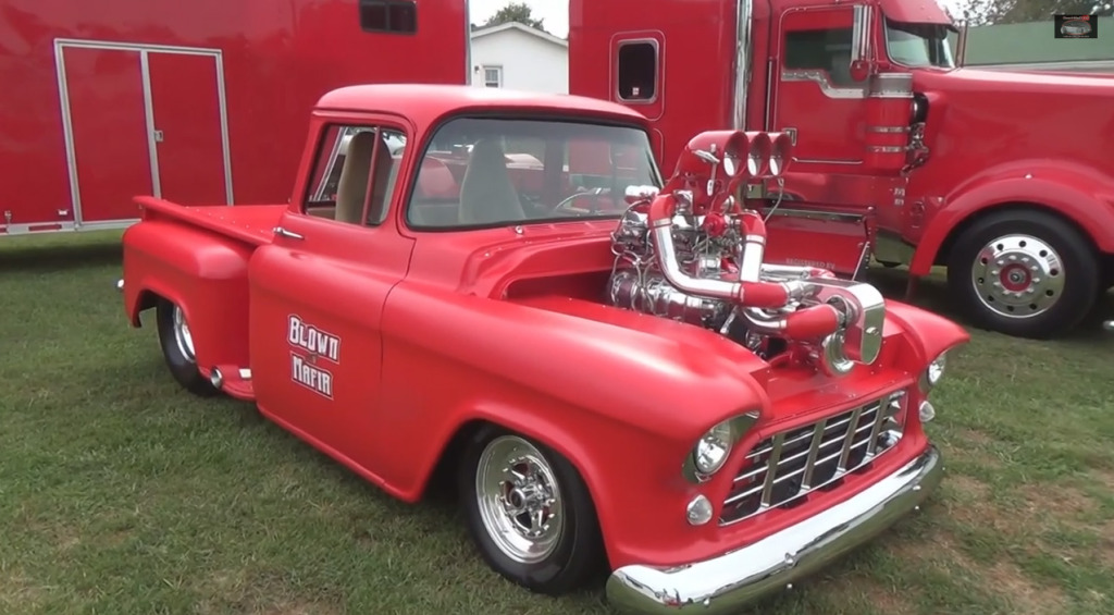 bradley gray s 1956 chevy truck with twin supercharged v8 engine swap depot. Black Bedroom Furniture Sets. Home Design Ideas