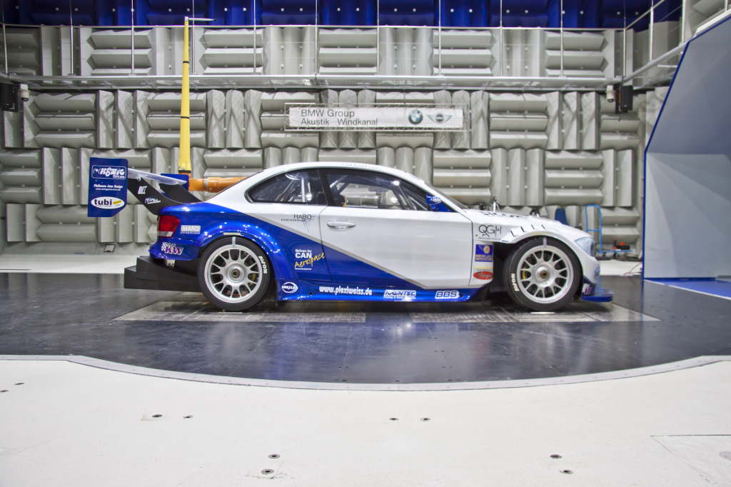 side of Georg Plasa's BMW 134 inside wind tunnel