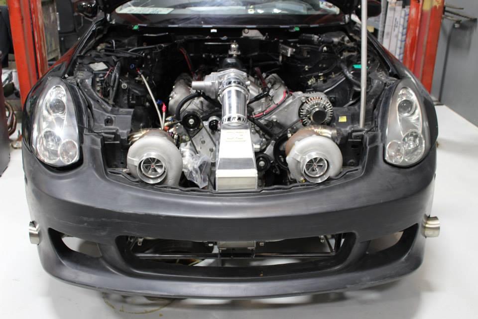 1500 horsepower twin-turbo 427 cubic-inch LSx V8 inside Infiniti G35