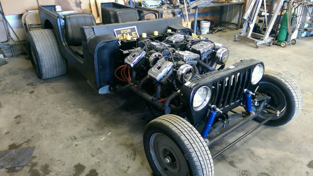 Jeep with four Harley-Davidson Evolution V-Twin engines