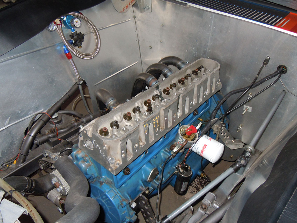 1962 Ford Falcon with inline-six motor with head made from two LSx heads