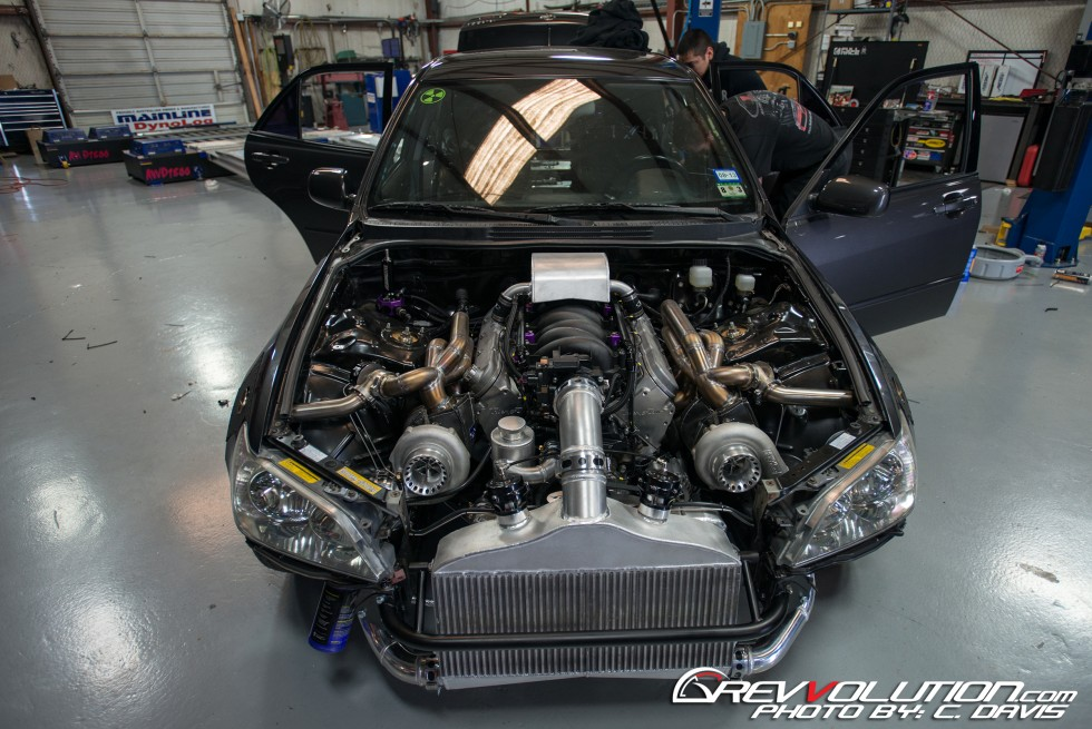 twin-turbo LC9 Gen4 V8 inside the engine bay of a Lexus IS300