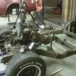 Volkswagen 1.9L TDI diesel engine being installed on a 1974 Corvette frame