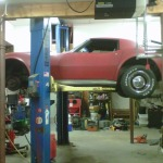 1974 Corvette with VW TDI diesel engine on lift
