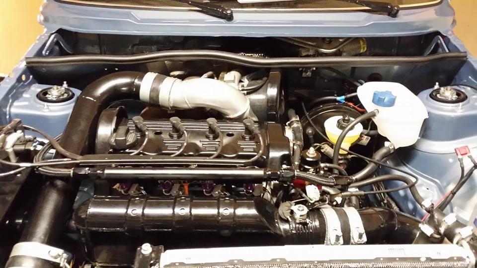 1,100 horsepower 2.0L 16V ABF inside engine bay of Boba Motoring's Golf Mk1