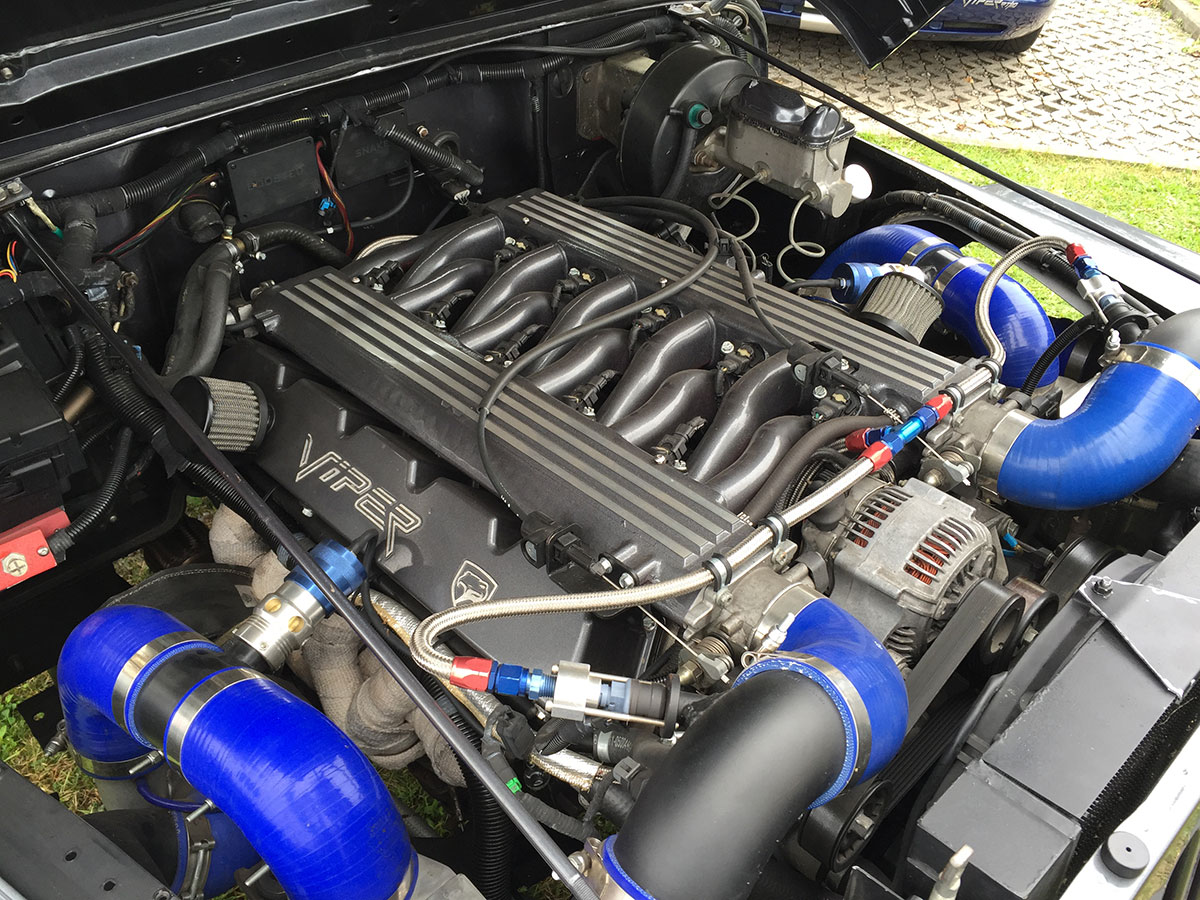 Twin Turbo Viper V10 Inside Jeep Wrangler Engine Compartment