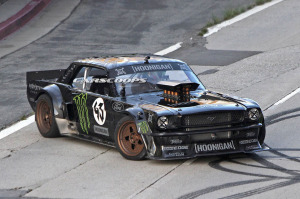 Ken Block drives a AWD first generation Ford Mustang