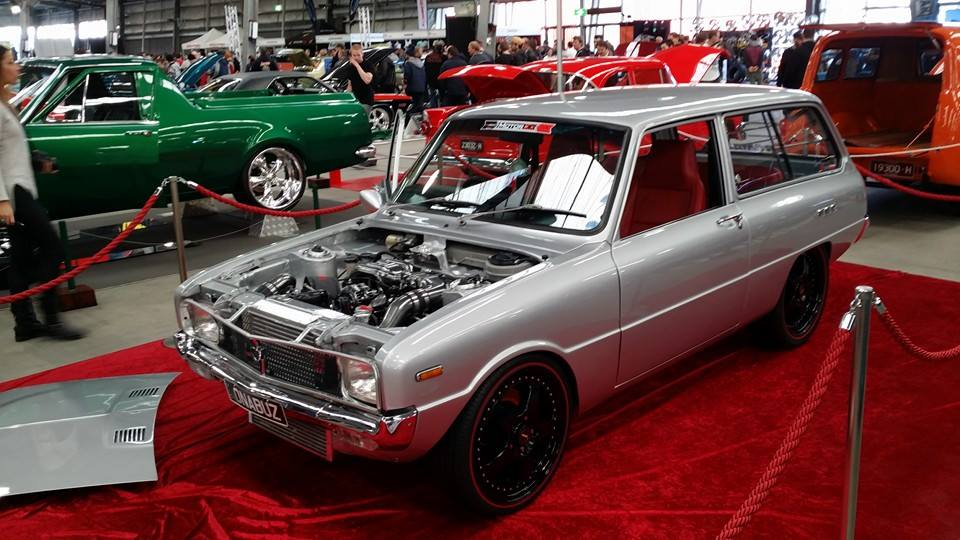Mazda 1300 wagon with a turbocharged 13B rotary engine