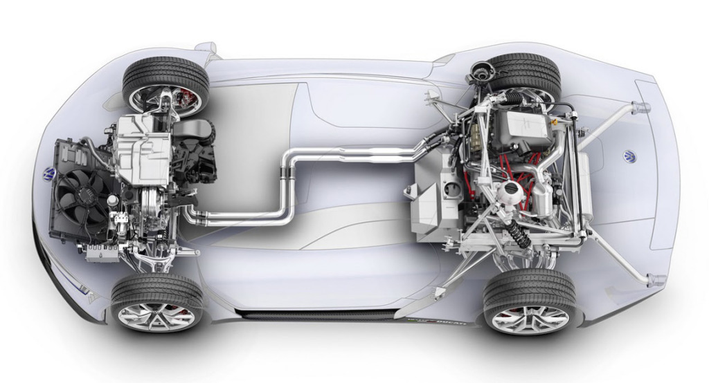 cutaway view of the the motorcycle and hybrid drivetrain in the VW XL Sport