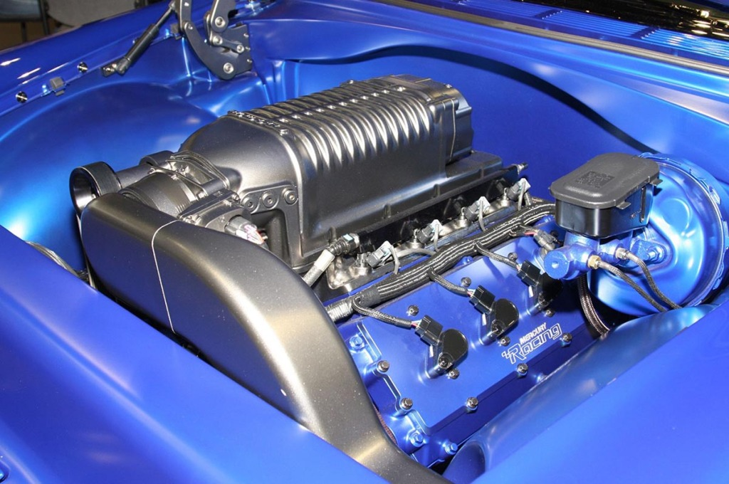 1955 Chevy Nomad with a supercharge Mercury Racing 4v DOHC LSx V8