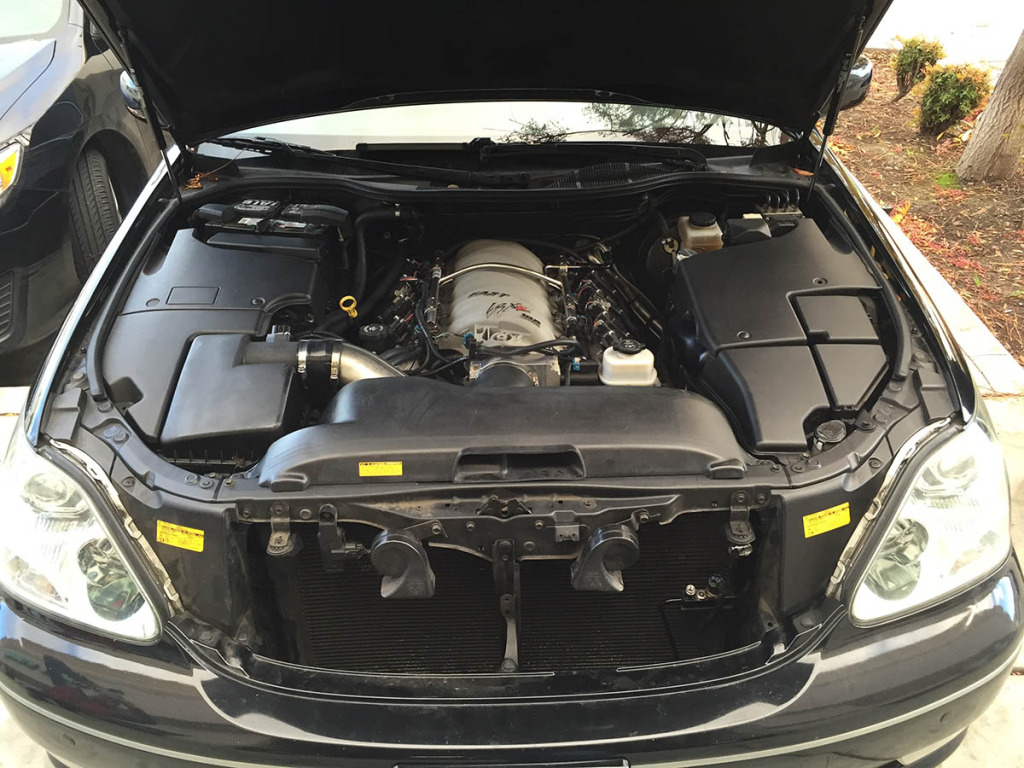 LS3 V8 inside Lexus SC430 engine bay