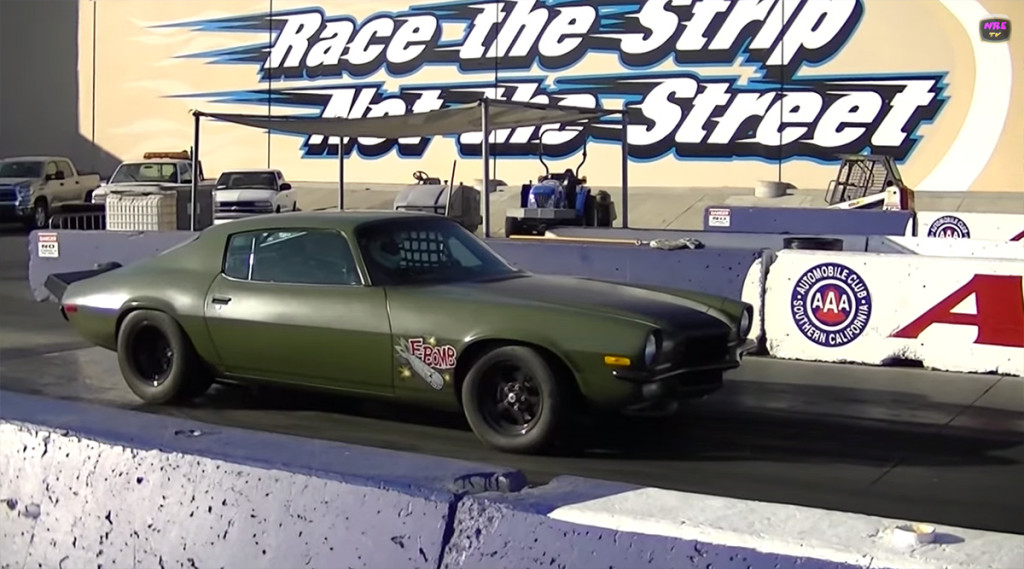 1973 Camaro F-bomb goes for 8 seconds at drag
