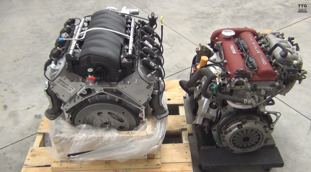 Miata I4 engine vs LS3 V8 size comparison