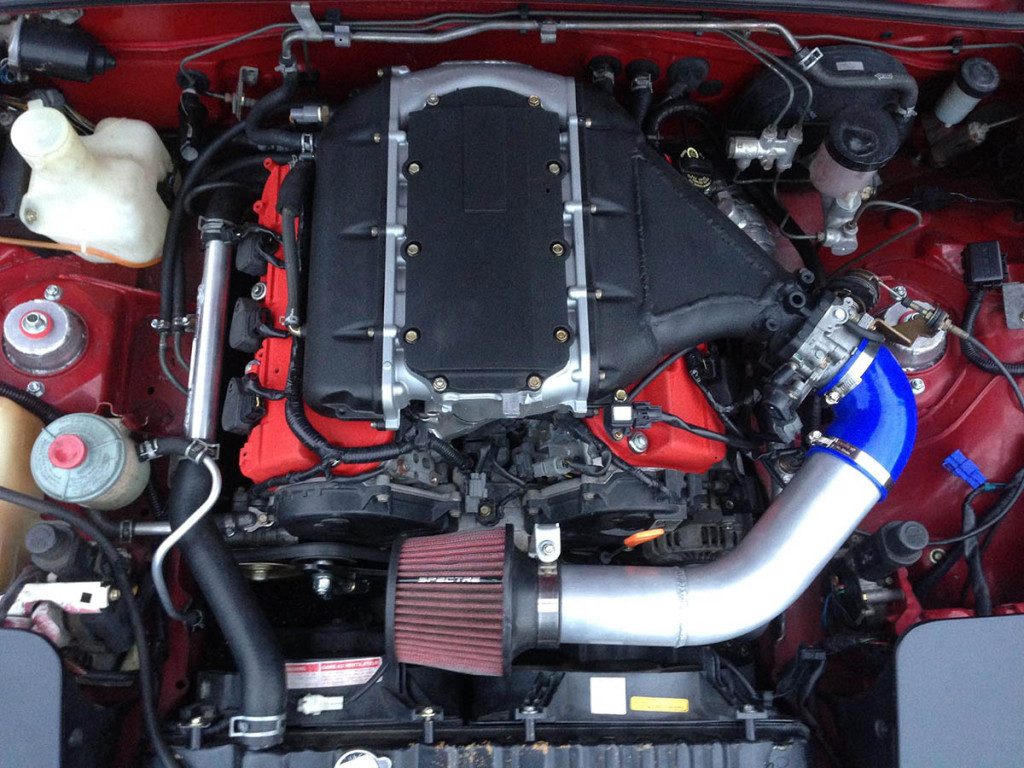 Honda J32A2 V6 inside Mazda MX-5 NA Miata engine bay
