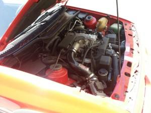 A Lexus 1UZ-FE V8 inside a 1985 Merkur XR4Ti engine bay