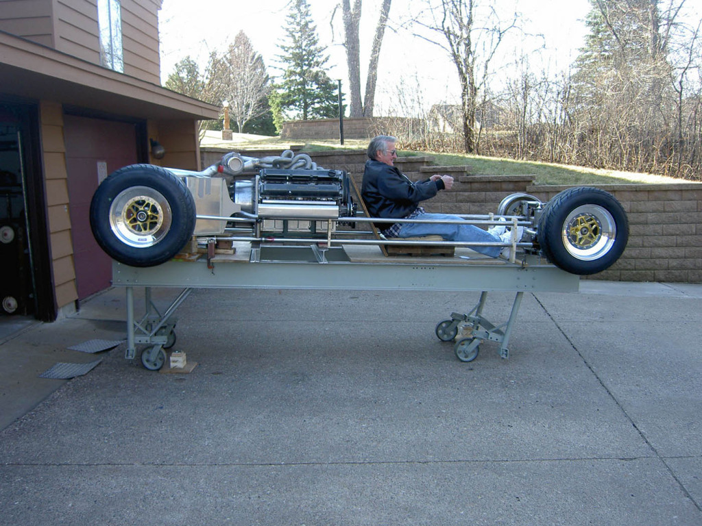full tube chassis with mid-engine V12 made from two Toyota inline-six engines