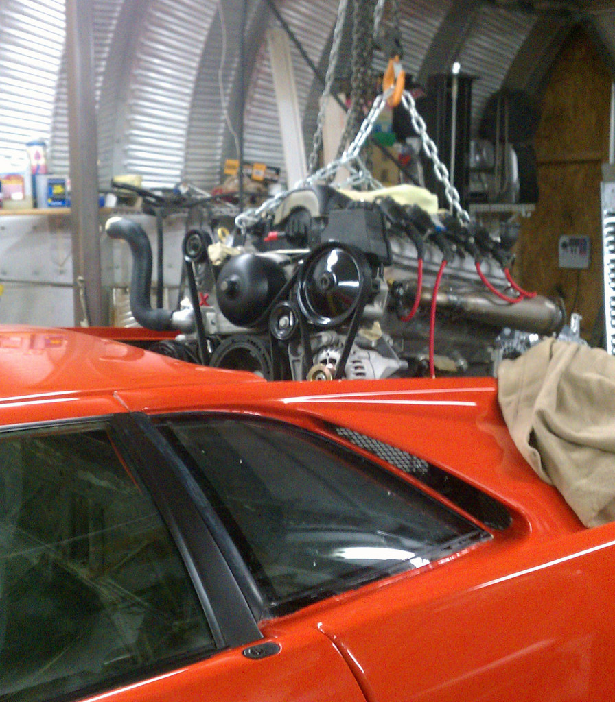 LS3 and Porsche G50 transaxle being installed into a Lamborghini Diablo