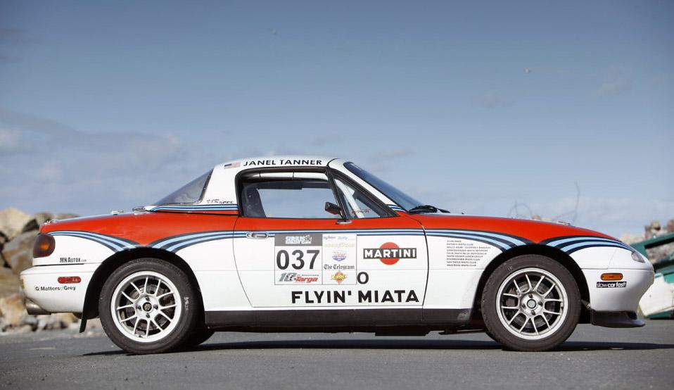 1994 Miata with a 5.3 L LSx Races Targa Newfoundland