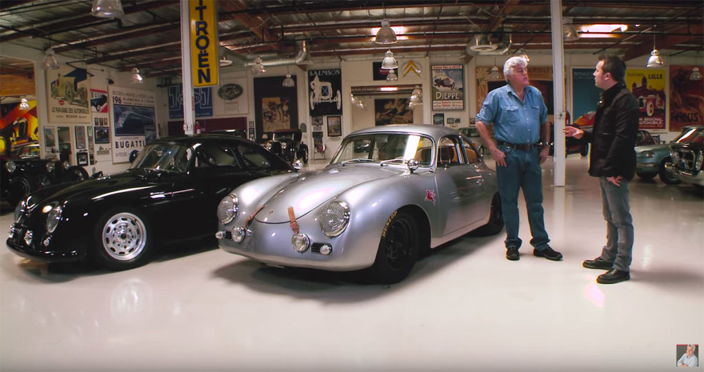 Rod Emory at Jay Leno's Garage with two Porsche 356 Outlaws