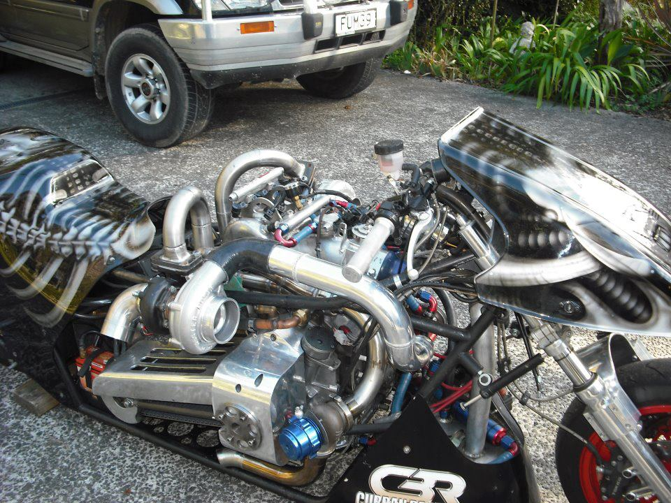 Drag Motorcycle with a 600 HP Twin-turbo Rotary