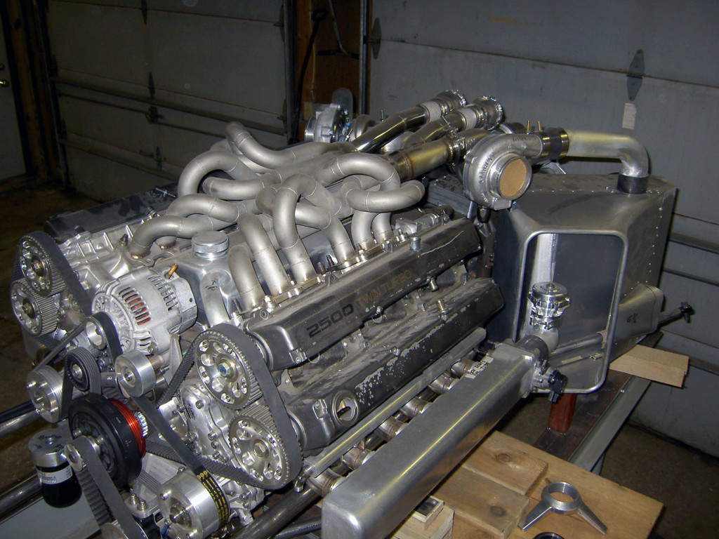 full tube chassis hot rod  with mid-engine V12 made from two Toyota inline-six engines