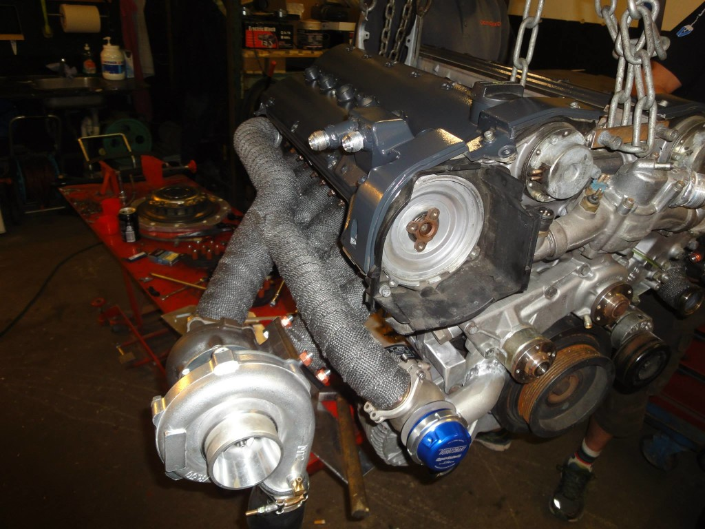 Twin-turbo Mercedes M120 V12 going into Christian Jæger Nissan R33