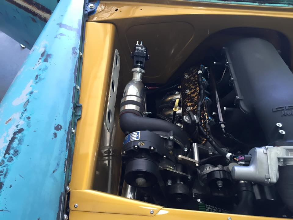 Supercharged LS3 V8 inside a1956 Chevy Bel Air engine bay