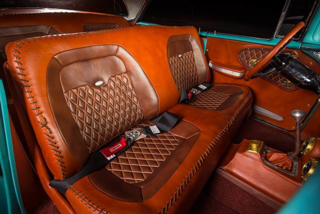 Custom leather interior inside Boosted Bela 1956 Chevy Bel Air