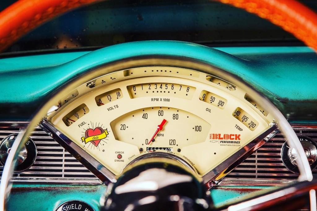 Center gauge cluster inside Boosted Bela 1956 Chevy Bel Air
