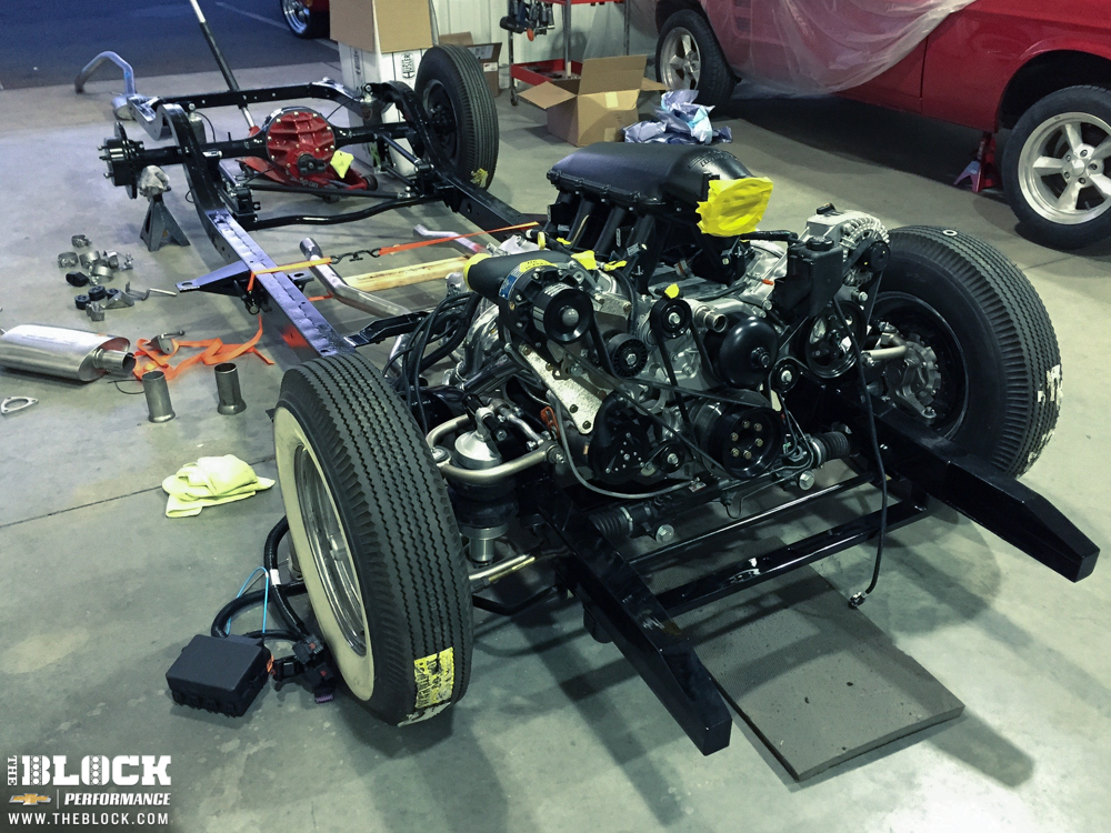 Factory frame with a Fatman Stage V frame stub and RideTech air suspension for a 1956 Chevy Bel Air