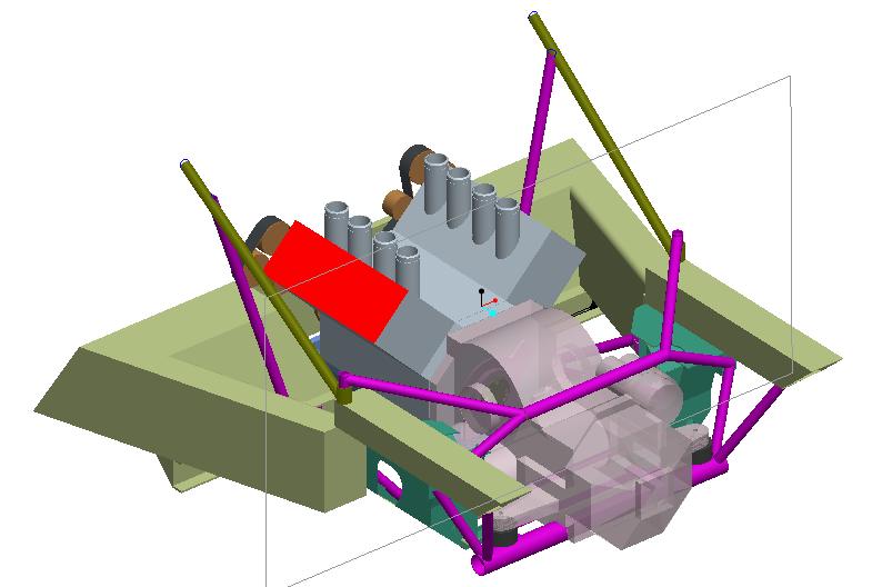 CAD design of back of Lotus Exige with a Ferrari F355 V8 and transmission