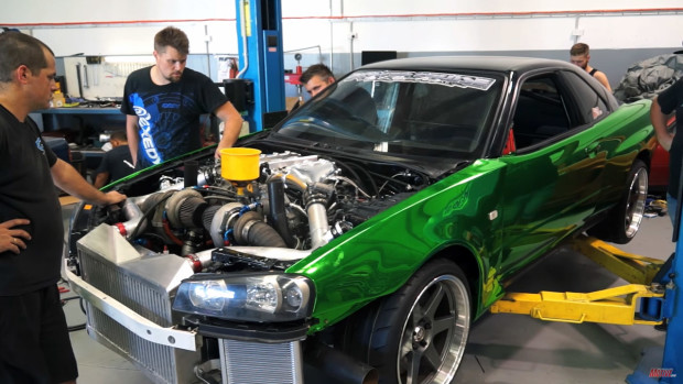 Project Erubisu R34 Skyline with a VR38DETT - Part 4 - on the lift