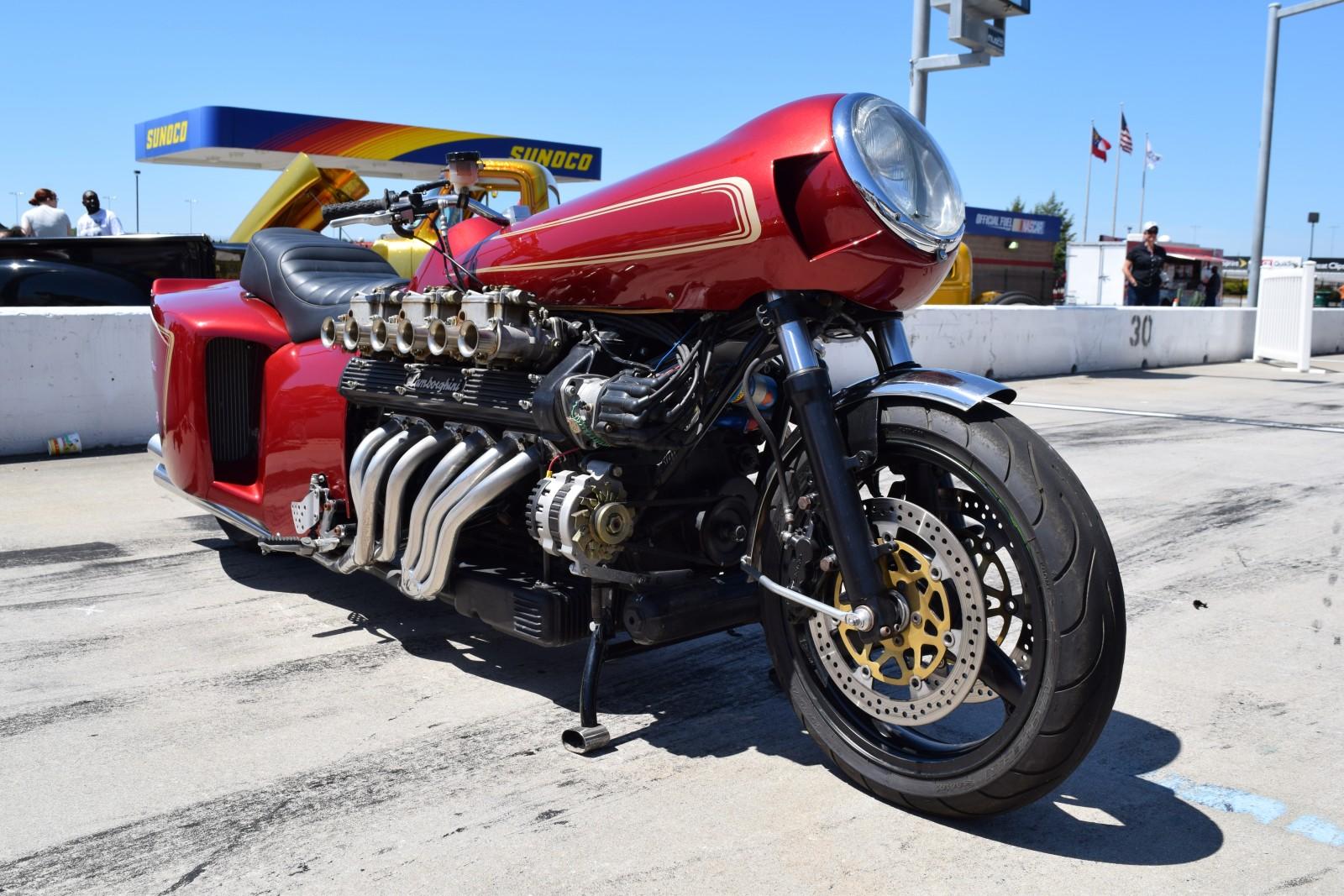 chuck becks lamborghini powered motorcycle engine swap depot