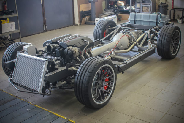 C6 Corvette rolling chassis and powertrain ready to be installed under a C3 Corvette