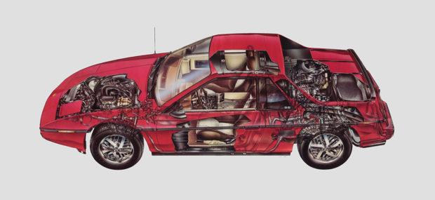 Pontiac Fiero cutaway diagram