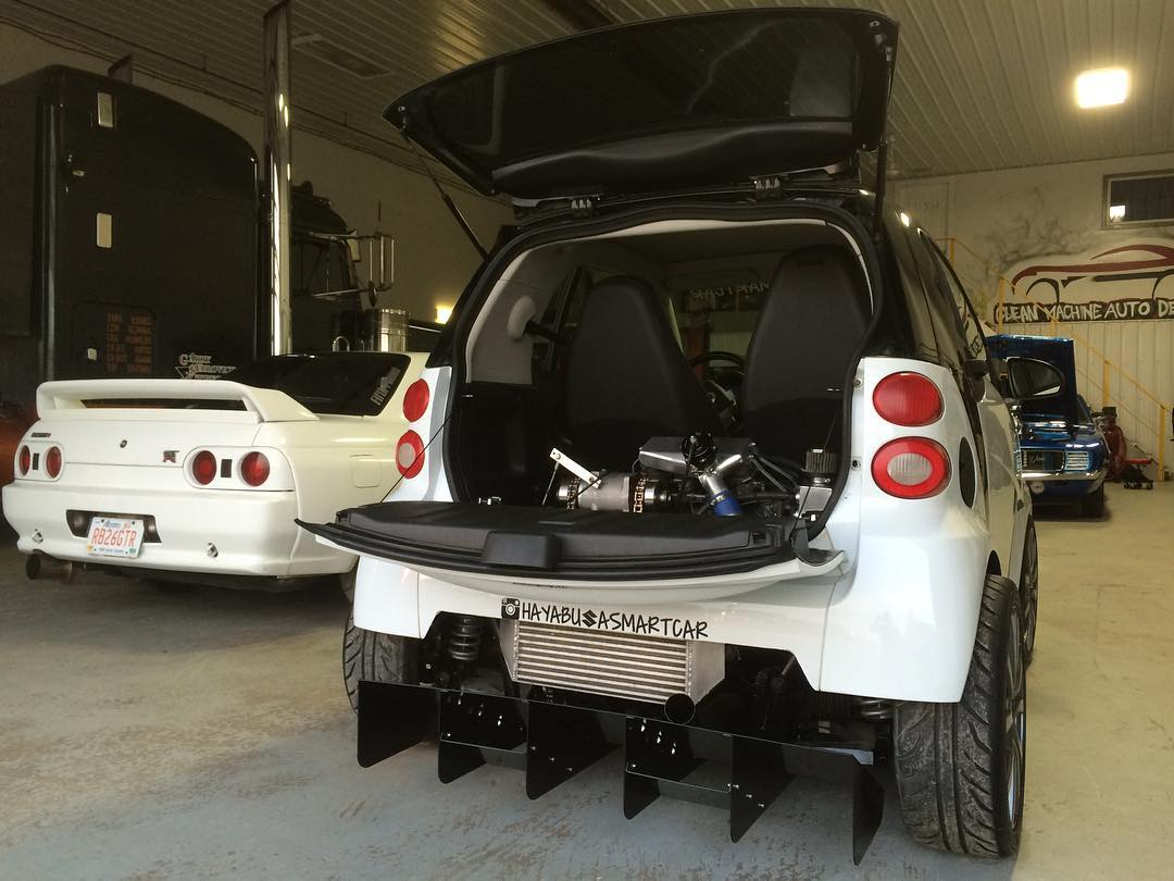 smart fortwo with a turbo hayabusa motor engine swap depot