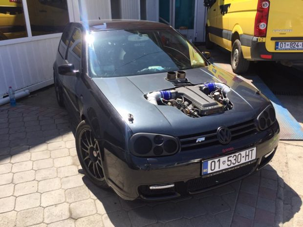 VW Golf with a Twin-turbo 5.0 L Audi V10