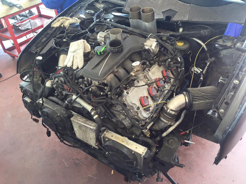 VW Golf with a Twin-turbo Audi V10 – Engine Swap Depot