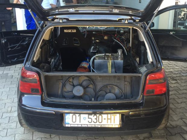 VW Golf with a Twin-turbo 5.0 L Audi V10